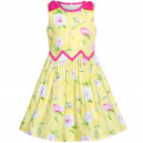 Dětské, dívčí letní šaty žluté s potiskem růžiček
