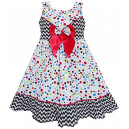 Dětské, dívčí šaty bílé s puntíky a velkou mašlí