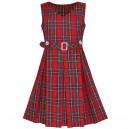 Dětské, dívčí šaty ve stylu školní uniformy - červené kostkované