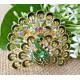 Luxusní módní brož - páv, smaragd Swarovski krystal