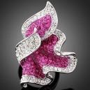Luxusní dámský prsten clear & fuksia Swarovski krystal J0095