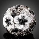 Luxusní masivní dámský prsten květina Swarovski krystal