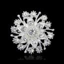 Brož s krystaly- stříbrná květina