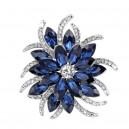 Módní brož s krystaly- modrá květina