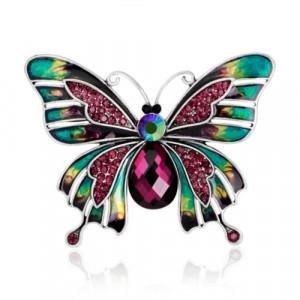 Módní brož s krystaly - barevný motýl