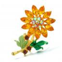 Módní brož s krystaly - slunečnice