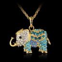 Módní dámský řetízek s přívěškem slon s krystaly - modrý