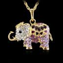 Módní dámský řetízek s přívěškem slon s krystaly - fialový