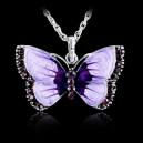 Módní dámský řetízek s přívěškem fialový motýl