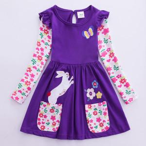 Dívčí šaty, tunika s dlouhým rukávem a králíčkem - fialová