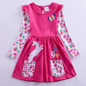 Dívčí šaty, tunika s dlouhým rukávem a králíčkem - růžová
