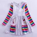 Dívčí šaty, tunika s dlouhým rukávem a jednorožcem - šedává
