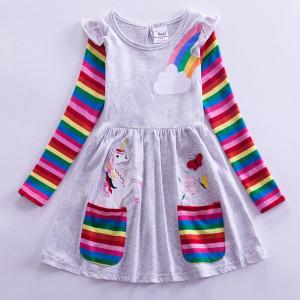 Dívčí šaty, tunika s dlouhým rukávem a jednorožcem - šedá