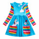 Dívčí šaty, tunika s dlouhým rukávem a jednorožcem - modrá