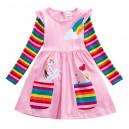 Dívčí šaty, tunika s dlouhým rukávem a jednorožcem - jemně růžová