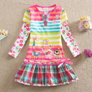Dětské dívčí šaty, tunika s dlouhým rukávem barevné se zvířátkym