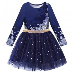 Dívčí šaty, tunika s tutu sukýnkou zimní motiv - modrá navy