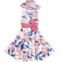 Dětské, dívčí šaty bílé s růžovými květy a s kloboučkem