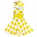 Dětské, dívčí šaty bílé se žlutými slunečnicemi a s kloboučkem