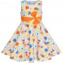 Dětské, dívčí šaty s květy, mašlí a s kloboučkem