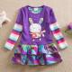 Dětské dívčí šaty, tunika s dlouhým rukávem fialová s králíčkem