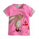 Dětské, dívčí tričko krátký rukáv růžové s králíčkem a houbičkami