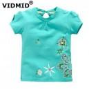 Dětské, dívčí tričko krátký rukáv zelené s kytičkami