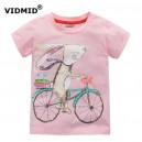 Dětské, dívčí tričko krátký rukáv růžové zajíc na kole