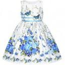 Dětské, dívčí letní šaty bílé s vyšívanými motýlky a modrými kytičkami