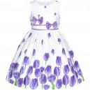 Dětské, dívčí letní šaty bílé s fialovými tulipány