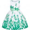 Dětské, dívčí letní šaty bílé se zelenými růžemi