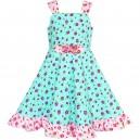 Dětské, dívčí letní šaty tyrkysové květinové