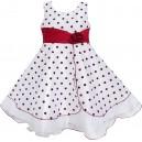 Dětské, dívčí společenské šaty bílé s červenými puntíky a mašlí v pase