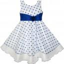 Dětské, dívčí společenské šaty bílé s modrými puntíky a mašlí v pase