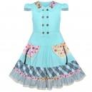 Dětské, dívčí bavlněné šaty s knoflíčky - tyrkysové