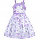Dětské, dívčí společenské bílé šaty s fialovými květy a korálky