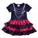 Dětské dívčí šaty, tunika s krátkým rukávem a korálky