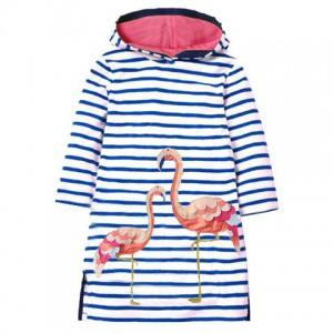 Dívčí šaty, tunika s proužky a kapucí - plameňák