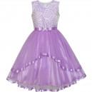 Dětské, dívčí společenské šaty, šaty pro družičku - fialové