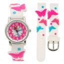 Dětské, dívčí, silikonové hodinky 3D s motýlky, voděodolné - bílé