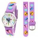 Dětské, dívčí, silikonové hodinky 3D s motýlky, voděodolné - fialové