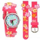 Dětské, dívčí, silikonové hodinky 3D květiny, voděodolné - růžové