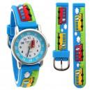 Dětské, chlapecké, silikonové hodinky 3D autobusy