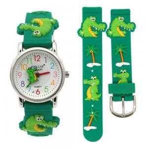 Dětské, chlapecké, silikonové hodinky 3D vodoodolné - krokodýl