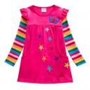 Dětské dívčí šaty, tunika s dlouhým rukávem s 3d hvězdičkami