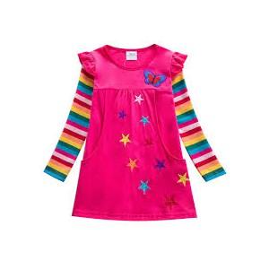 Dětské dívčí šaty, tunika s dlouhým rukávem s 3d hvězdičkami růžová