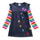 Dětské dívčí šaty, tunika s dlouhým rukávem s 3d hvězdičkami modrá