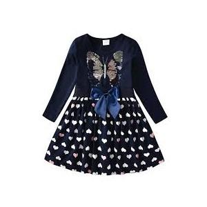 Dětské dívčí šaty, tunika s dlouhým rukávem měnící se obrázek motýl