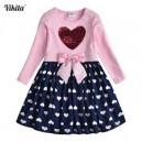 Dětské dívčí šaty, tunika s dlouhým rukávem měnící se obrázek srdíčko