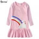 Dětské dívčí šaty, tunika s dlouhým rukávem s jednorožcem růžováíček